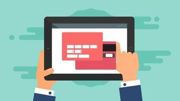 websjabloon van tablet online winkelformulier vector