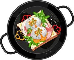 ontbijt dat in de geïsoleerde pan wordt geplaatst vector
