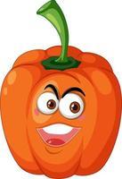 oranje capsicum stripfiguur met blij gezicht expressie op witte achtergrond