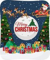 vrolijk kerstfeest lettertype met de kerstman op een slee in sneeuwscène vector