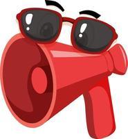 megafoon stripfiguur met gezichtsuitdrukking vector