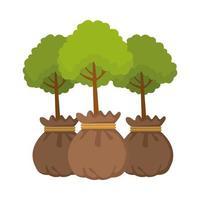 boom planten in zakken pictogrammen vector