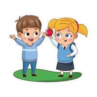 schattige kleine kinderen met appel vector