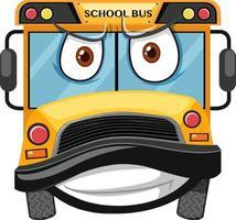 schoolbus stripfiguur met een boze gezichtsuitdrukking op witte achtergrond