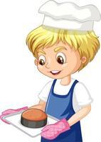 stripfiguur van een chef-kok jongen met dienblad van cake