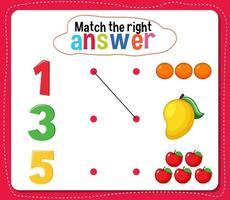 match de juiste antwoordactiviteit voor kinderen vector