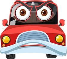 rode vintage auto stripfiguur met een boze gezichtsuitdrukking op witte achtergrond