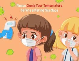 het controleren van de lichaamstemperatuur voordat u de plaats betreedt vector