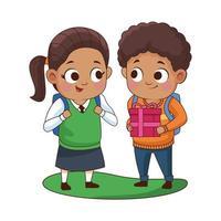 schattige kleine kinderen met geschenken vector