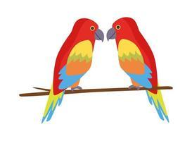 wilde tropische papegaaien natuur pictogram vector