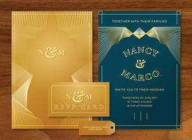 Gouden luxe Art Deco bruiloft uitnodiging Vector sjabloon Pack