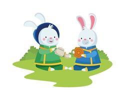 konijnenbeeldverhalen met traditionele kleding en mooncake vectorontwerp