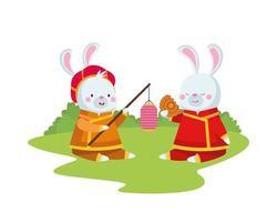 konijnenbeeldverhalen met traditionele kleding, lantaarn en mooncake vectorontwerp