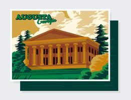 augusta, georgië, briefkaart, vector