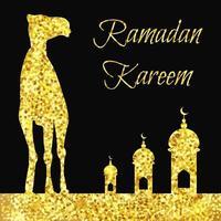 ramadan gouden groet met kameel vector