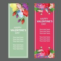 valentijn vintage bloem banner set vector