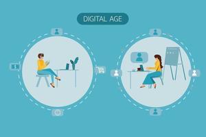 sociaal afstand nemen en online globaal concept vector