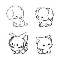 schattige hond icoon collectie vector