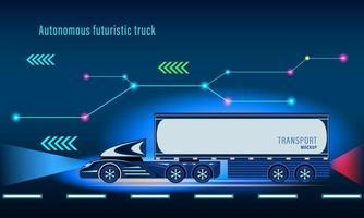autonome slimme futuristische vrachtwagen vector