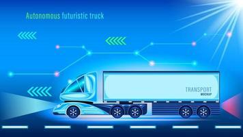 autonome slimme futuristische vrachtwagen. onbemand voertuig vector