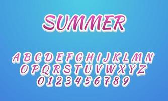 zomerstijl alfabet lettertype vector