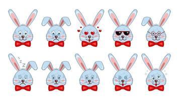 konijn gezicht emoticon instellen vector