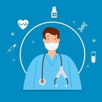 paramedicus met gezichtsmasker en coronaviruspictogrammen vector