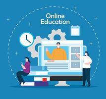 online onderwijs technologie mensen met computer vector