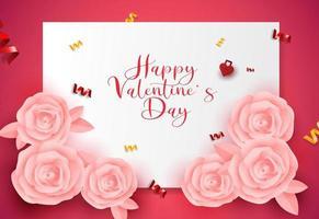 Valentijnsdag wenskaart ontwerp verkoop banner, poster achtergrond met roze rozen origami vorm. vector