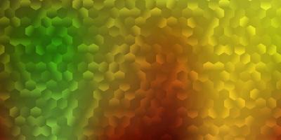 lichtgroene, gele vectortextuur met kleurrijke zeshoeken. vector