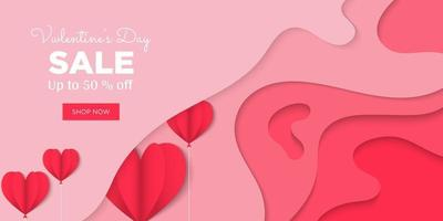 Valentijnsdag minimaal met papierstijl voor achtergrond vector