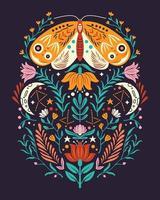 lentemotieven in volkskunststijl. kleurrijke platte vectorillustratie met vlinder, bloemen, bloemenelementen en maan. vector