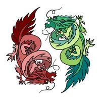 chinese draak oosterse feng shui vector