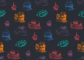 smakelijke taarten naadloze patroon vector