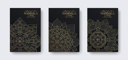 luxe mandala-omslag in donkere kleur vector