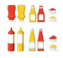 ketchup en mosterd icon set vector