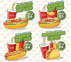 fastfood banner set, smakelijke set fastfood vector