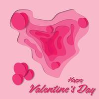 papier gesneden banner met 3d roze harten en golflagen. abstracte lay-outontwerpen voor brochures en flyers. vector