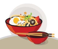 traditionele chinese soep met noedelsontwerp vector