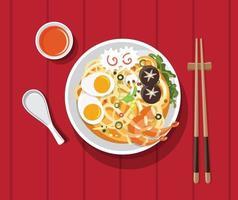 traditionele chinese soep met noedels vector