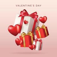 gelukkige Valentijnsdag banner. vakantie achtergrondontwerp met groot hart gemaakt van roze, rode harten op zwarte stof achtergrond. horizontale poster, flyer, wenskaart, koptekst voor website. goud metallic tekst liefde, realistische rode ballonnen. vector illustratie