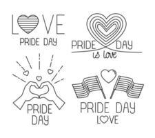 bundel van pride-dagpictogrammen, lijnstijl vector