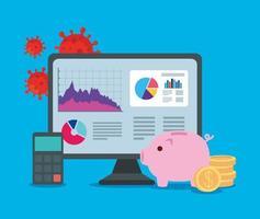 infographic van financieel herstel in de computer en pictogrammen vector