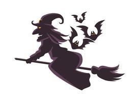 heks vliegen op bezem en vleermuizen vliegen silhouet pictogram vector