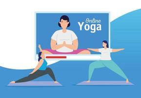 vrouwen die online yoga beoefenen vector
