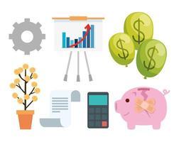 financieel herstel icon set vector