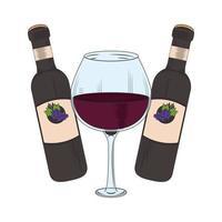 wijnglas en wijnflessen en glasontwerp vector