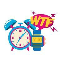 pop-artontwerp van retro klok en horlogepictogram vector