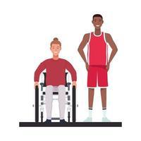 man in karakters van rolstoel en basketbalspeler vector