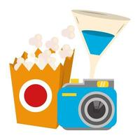 popcorndoos met camera en cocktaildrankje